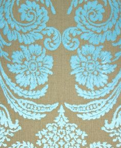 Pattern Baroque Style | Ombrione Ocean - Fabrics - Materials - The Sofa & Chair Company Cut velvet baroque pattern in a stunning turquoise on a linen back cloth.