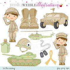 In the Army Cute Digital Clipart for Card Design, Scrapbooking, and Web Design, Army Military Graphics