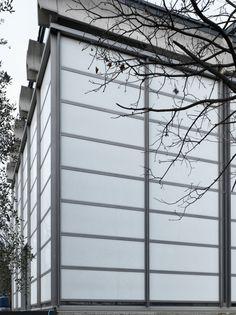 "Restoration of the ""Church of Glass"" by Morassutti, Mangiarotti, Favini - 1958 Contemporary Architecture, Utility Pole, Restoration, Louvre, Building, Glass, Outdoor Decor, Photography, Spaces"
