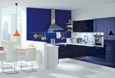 #Küche in Blau #Kücheninsel www.dyk360-kuechen.de