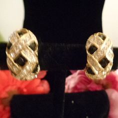 Vintage Black and Clear Rhinestone Earrings Set in Goldtone with Clip-On Backs Looks Like Vintage Jewelry Designer CD. Black Enamel and Rhinestones. $16.00. Come see them www.CCCsVintageJewelry.com