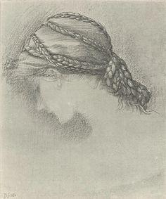 Edward Burne-Jones - Study of a head for The Briar Rose Series