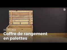 Comment réaliser un coffre de rangement en palettes - YouTube
