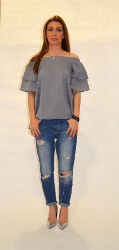 Gingham Summer Tunic/ Cold Shoulder Summer Blouse/ Cut Out Shoulders Summer Tunik/ Loose Summer Top/ Open Shoulders Boho Shirt/Cotton Poplin