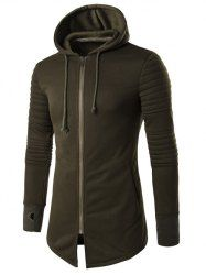 Hooded Longline Graphic Print Zip Up Rib Design Hoodie - ARMY GREEN