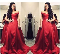 2018 High Quality Red Evening Dresses Satin A Line Off Shoulders Backless Long Prom Dresses vestidos de fiesta