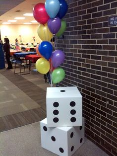 {real parties} a dicey family game night white shipping boxes, sealed them with white tape and attached black dots with adhesive dots Board Game Themes, Board Games, Game Night Decorations, Magic Decorations, Magician Party, Family Math Night, Planning School, Event Planning, Bunco Party