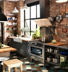 """""""Industrial"""" Kitchen with butler sink and grey units, i like it, but it seems a bit too busy for my design, making it look too small"""