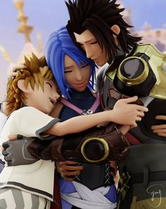 Awww that's so cute of Terra and Ven hugging Aqua like that. Kingdom Hearts Terra, Kingdom Hearts Games, Kingdom Hearts Fanart, Kingdom Hearts Ventus, Kh 3, Aqua, Dc Anime, Shall We Date, Final Fantasy