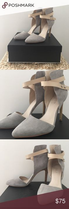 Joe's Jeans Laney Ankle Strap Heels Light gray suede heel with cream ankle strap. Worn very few times and in pristine condition! Only signs of wear are on the soles and inside of shoe. Box included. Joe's Jeans Shoes Heels