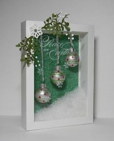 Pin by Rachael Howell on Christmas shadow boxes Christmas Shadow Boxes, Christmas Frames, Noel Christmas, Christmas Signs, Homemade Christmas, Winter Christmas, All Things Christmas, Christmas Wreaths, Christmas Ornaments