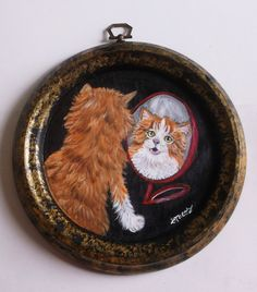 Orange Tabby Cat Kitten Looking in the by daniellesoriginals (Art & Collectibles, Painting, Acrylic, domestic cat, kitten, plaque, hand painted, cat lover gift, home decor, gift for her, gift for men, tabby cat, portrait, painting)