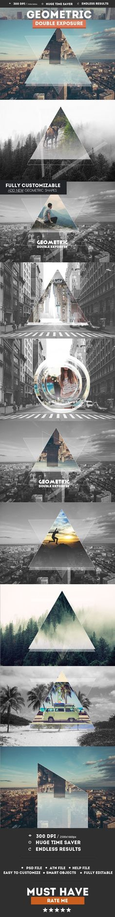 Geometric Double Exposure Photoshop Creator — Layered PSD #abstract geometric collage #double exposure