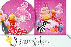 Baby birthday card with flamingo by Lian-art on @creativemarket