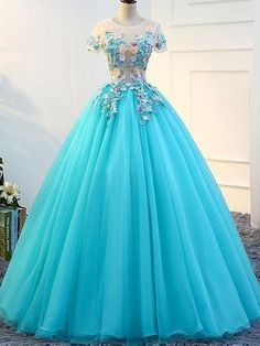 A-line Scoop Neck Cap Sleeveless Appliques Prom Dresses,Floor Length Dresses. Tulle Ball Gown, Tulle Prom Dress, Ball Gowns, Cute Prom Dresses, Pretty Dresses, Homecoming Dresses, Wedding Dresses, Quince Dresses, Chor