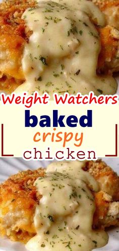 2 lbs chicken tenders or 4 large chicken breasts 2 sleeves Ritz crackers teaspoons salt teaspoon pepper cup whole milk 3 cups cheddar cheese, grated 1 teaspoon dried parsley Sauce: 1 10 ounce can cream of chicken soup 2 tablespoon sour Top Recipes, Skinny Recipes, Meat Recipes, Dinner Recipes, Cooking Recipes, Healthy Recipes, Recipies, Diabetic Chicken Recipes, Skinny Meals