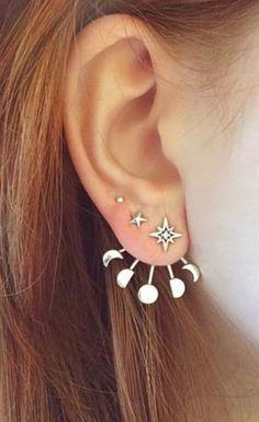 Cute Ear Piercing Ideas - Moon Phases Ear Jacket Earring Climber - Universe Galaxy Crescent - at MyBodiArt.com