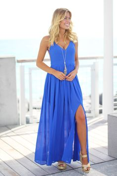 royal blue maxi dress with slits