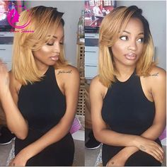 Cheap wigs realistic, Buy Quality wig kanekalon directly from China wig maker Suppliers: Brazilian Virgin Hair Glueless Full Lace Ombre Wig Bob Style Two Tone 1B/27 Human Hair Bob Wig Ombre Lace Front Wigs For Women