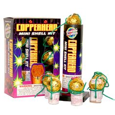 Phantom Fireworks® Copperhead Mini-Shell Kit: Six small and unbelievably powerful shells with huge color bursts.