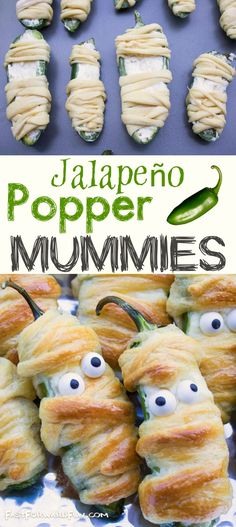 Halloween party appetizer idea for adults! VIDEO TUTORIAL-- Halloween food for a party! Jalapeño Popper Mummies