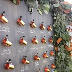 Totally loving this escort card display with copper cups and calligraphy! So perfect for a right? Display thanks to Copper Wedding, Rustic Wedding, Wedding Planning Boards, Copper Cups, Seating Plan Wedding, Reception Signs, Seating Cards, Cute Wedding Ideas, Wedding Favours