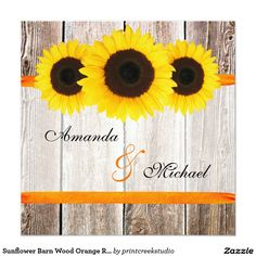 Sunflower Barn Wood Orange Ribbon Wedding