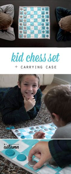 How fun! Make a fabric chess set and carrying case for your kids - great gift idea!