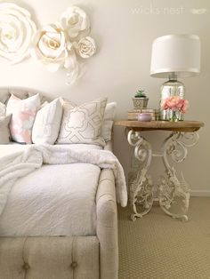 Inspiration for small-space style on the blog! White on white works when mixing textures, and pops of color can change with the seasons.