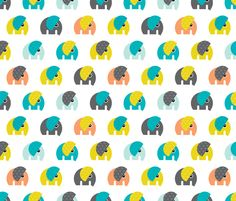 Cute baby elephant parade boys theme XL fabric by littlesmilemakers on Spoonflower - custom fabric