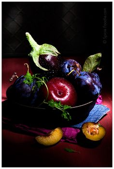 ♂ Still life, food styling, healthy eating Plums