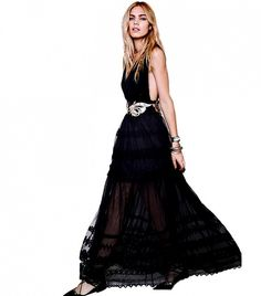 Free People Gianna's Limited Edition Gown in Black with a surplice neckline and empire waist with gorgeous scrolling floral appliqué