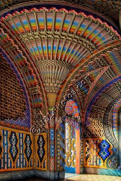 One of the many beautiful rooms in the abandoned castle of Sammezzano in the wooded Tuscan hills east of Florence. This one is often called the Peacock room.  Italy Photos by Jim DeLutes | Jim DeLutes Photography -Various galleries including many Italy photos plus still lifes, scenics and lightning - JDLphotos.com