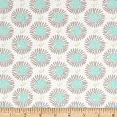 Riley Blake The Cottage Garden Aster White from @fabricdotcom  Designed by The Quilted Fish for Riley Blake, this cotton print is perfect for quilting, apparel and home decor accents.  Colors include white, grey, aqua and spring green.