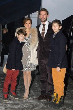 Countess Alexandra and husband Martin Joergensen attending a New Year Concert with children Prince Felix (L) and Prince Nikoai (R) in Copenhagen on 9 Dec 2012