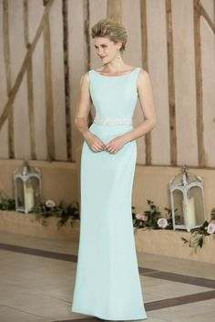 Lotus - New to the Luna collection is this elegant chiffon bridesmaid dress with a boat neckline and a striking bead and pearl belt detail. This dress is designed with our signature chiffon skirt silhouette for a flattering fit and a zip up back finished with buttons. Pictured here in Aqua