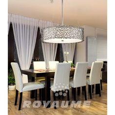 Suspendu étain avec tissus blanc et verre givré, idéal pour salle a manger, chambre, escalier et entrée.