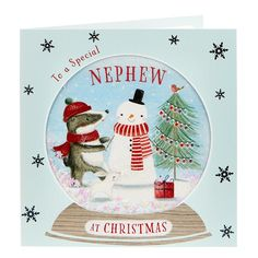 Boutique Collection Christmas Card - Nephew, Snow Globe | Card Factory