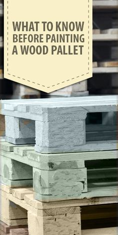 Wood Pallet Ideas What to Know Before Painting a Wood Pallet - Wood pallets are a great, sometimes even free, material to use for your DIY and craft projects, and you can… Read Diy Pallet Projects, Pallet Ideas, Diy Projects To Try, Furniture Projects, Wood Projects, Diy Furniture, Craft Projects, Painted Furniture, Furniture Stores