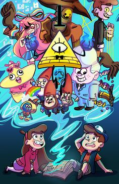 Gravity Falls,фэндомы,GF Арт,GF art,Bill Cipher,GF Персонажи,Dipper Pines,Mabel Pines,Bipper,Giffany,Gideon Gleeful