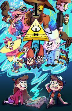 Gravity Falls,фэндомы,GF Арт,GF art,Bill Cipher,GF Персонажи,Dipper Pines,Mabel Pines,Bipper,Giffany,Gideon Gleeful