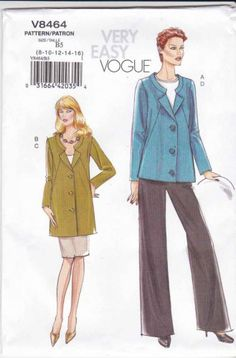 Vogue Sewing Pattern 8464 Misses Size 18-24 Easy Lined Jacket Straight Skirt Pants $21.99