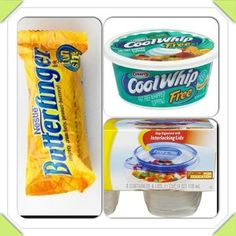 """3 weight watchers points plus guilt-free """"blizzard""""... Crush one fun size Butterfinger. Mix with a half cup of Cool Whip Free. Freeze. Super easy summer treat!"""