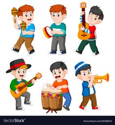 Boy playing with the different musical instrument vector Music Education, Kids Education, Six Girl, Boys Playing, Music For Kids, Free Illustrations, Happy Kids, Primary School, Art Music