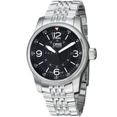 Oris Men's 73576604064MB Big Crown Stainless Steel Bracelet Watch Oris. $1057.65. Sapphire crystal. Swiss automatic movement. Textured bezel. Water-resistant to 30 M (99 feet). Black dial. Save 44% Off!