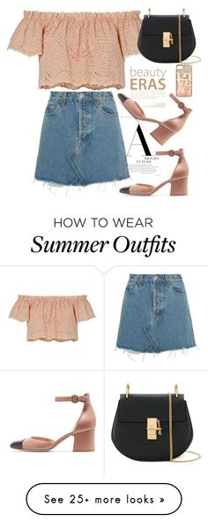 """""""FSJ summer outfit"""" by fsjamazon on Polyvore featuring LoveShackFancy, RE/DONE, Chloé and claire's"""