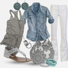 Light blue denim shirt, grey tank top, white pants, white sandals, white oversized handbag with grey flowers and matching accessories  NICE CLASSY LOOK!