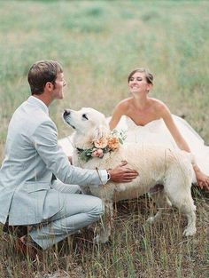 Lovely photography of a couple and their puppy | wedding | | wedding photography ideas | | fury friends | | wedding photography | | Wedding pets | #wedding #weddingphotography  https://www.roughluxejewelry.com/