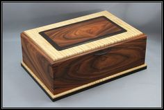 Bolivian Rosewood, Curly Maple Wenge Jewelry Box - My Wood Crafting Wooden Box Plans, Small Wooden Boxes, Wooden Jewelry Boxes, Wood Boxes, Wooden Sheds, Jewellery Boxes, Wooden Box Designs, Woodworking Box, Youtube Woodworking