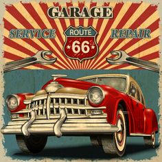 Vintage car poster grunge style vector 04